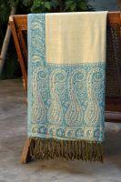 Двухсторонний индийский шарф, голубой с желтым