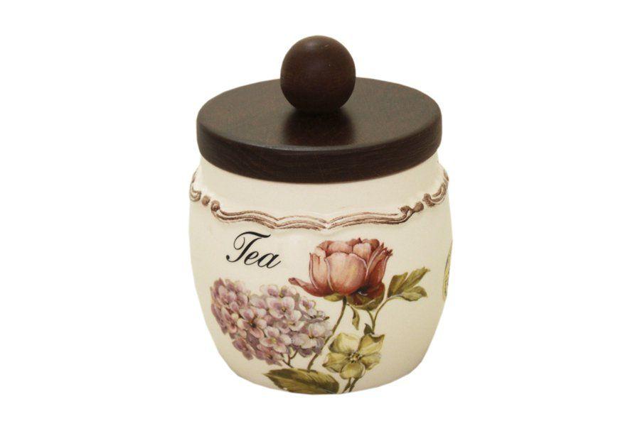 """Банка для сыпучих продуктов с деревянной крышкой(чай) 0,5 л""""Сады Флоренции"""""""