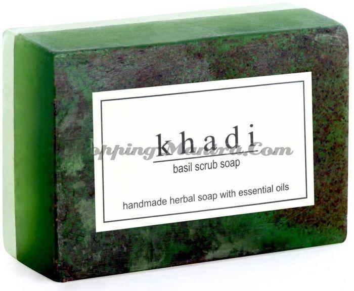 Мыло-скраб с натуральными эфирными маслами Базилик (2шт.) (Khadi Herbal Basil Scrub Soap)