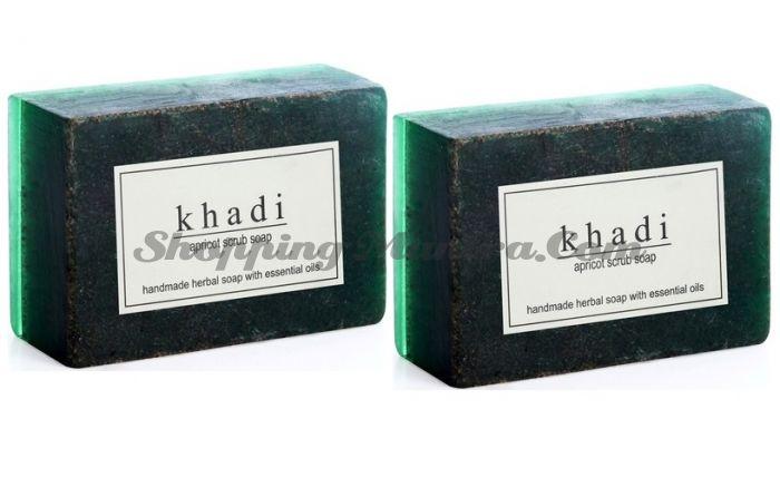 Мыло-скраб с натуральными эфирными маслами Абрикос (2шт.) (Khadi Herbal Apricot Scrub Soap)