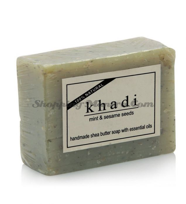 Мыло с маслом ши и эфирными маслами Мята&Кунжут (Khadi Mint&Sesame Seeds Soap)