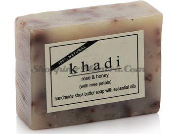 Мыло с маслом ши, эфирными маслами и лепестками роз Мед&Роза (Khadi Rose Honey Soap)