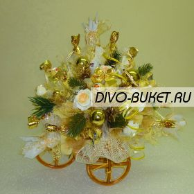 """Букет из конфет №177 """"Велосипед новогодний"""""""