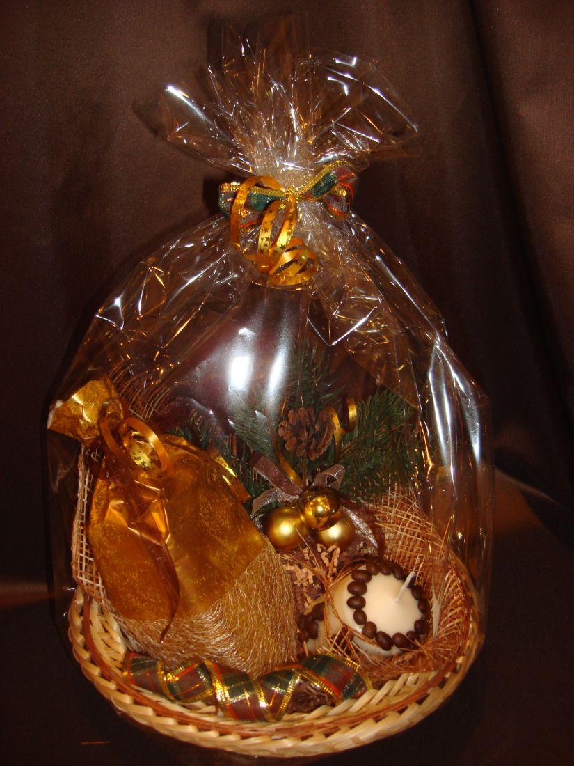 Новогодняя корзина золотая - подарочный набор №8