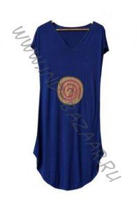Синее платье из трикотажа c аппликацией