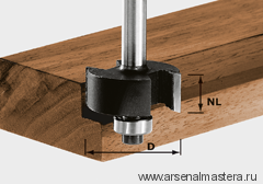 Фреза для выборки четверти HW с хвостовиком 8 мм FESTOOL HW S8 D31,7/NL 12,7 491022