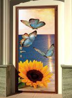Наклейка на дверь - Бабочки и подсолнух | магазин Интерьерные наклейки
