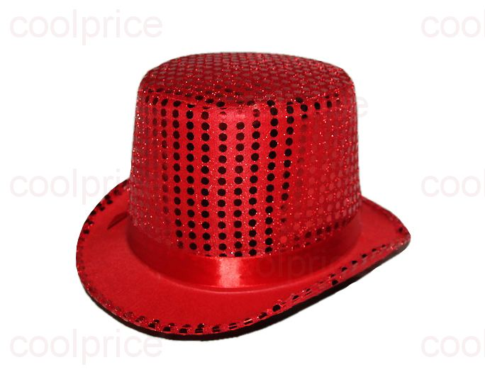Шляпа-цилиндр, красная с блёстками