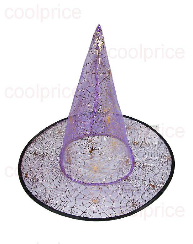 Шляпа ведьмы, сиреневая с паутиной