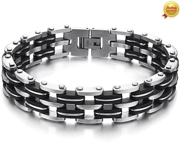 Мужской браслет сталь с каучуком