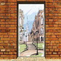 Наклейка на дверь - Город. скетч 2 | магазин Интерьерные наклейки