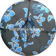 КРУГЛЫЙ СНОУТЮБИНГ (тюбинг) гавайские цветы, диаметр 85 см с камерой