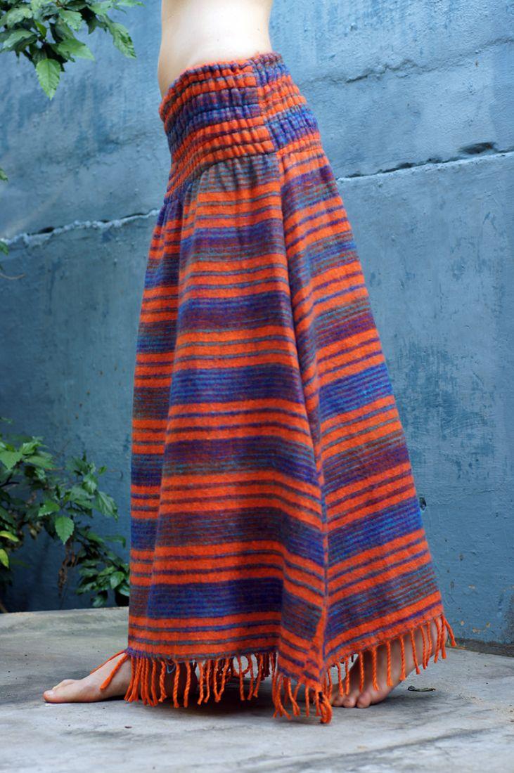 Длинная тёплая полосатая юбка, разные цвета (отправка из Индии)