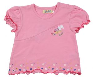 Майка для девочки рукава фанарик розовая полоска 5088 Венейя