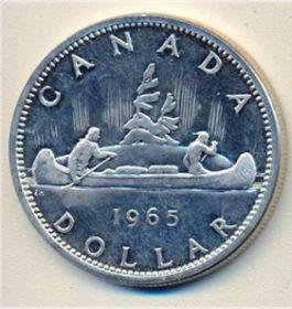 Каноэ 1 доллар Канада 1965 серебро