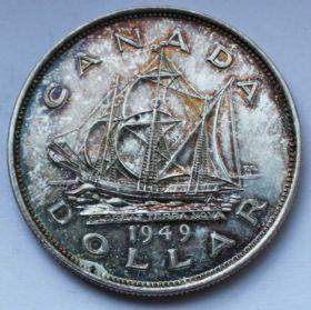 Парусник 1 доллар Канада 1949 серебро Пруф