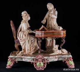 Пара, музицирующая на клавесине и скрипке, Германия., артикул 10439