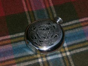 Фляжка из британского пьютера Узор- Волшебный Пэйсли (Круглая)