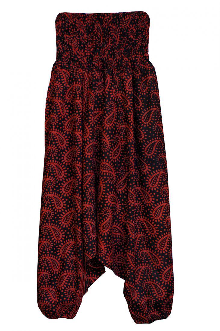 Чёрные индийские алладины с красным принтом (отправка из Индии)