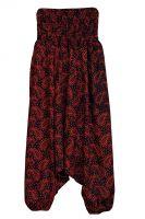 Черные индийские штаны алладины с красным принтом