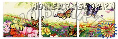 """Раскраска по номерам """"Порхающие цветы"""" 40х120"""