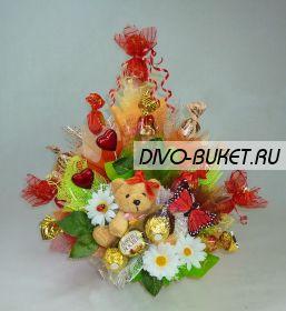 """Букет из конфет с мишкой №221 """"Жадинка"""""""