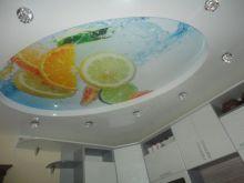 Двухуровневый натяжной потолок на кухню 10 кв.м.