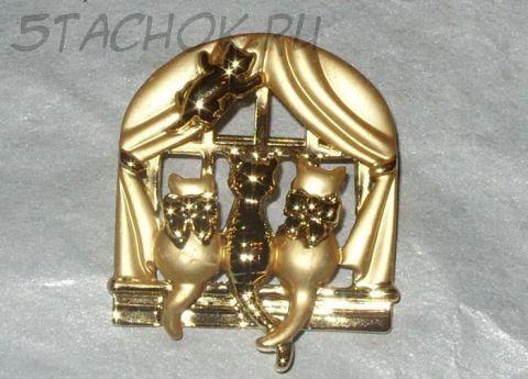 """Брошь """"Котята у окошка"""" цвет золота (AJC США)"""