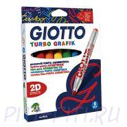 Giotto Turbo Grafik. Фломастеры со скошенным наконечником, 8 цветов