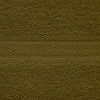 Махровое однотонное полотенце темно-зеленого цвета.
