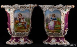 Фарфоровые вазы с ручной росписью, Франция, 19 век., артикул 00765