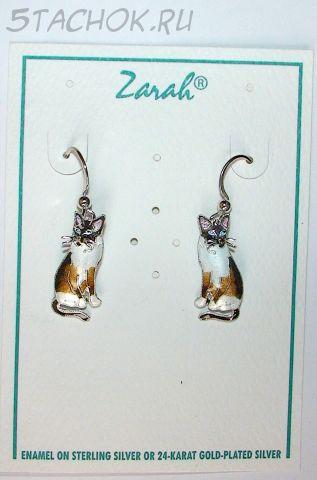 """Серьги """"Сиамская кошка"""" серебро 925, ювелирная эмаль"""