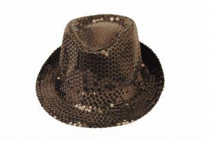 Блестящая шляпа стиляги черная