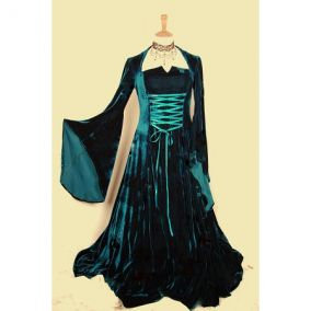 Длинное изумрудное платье