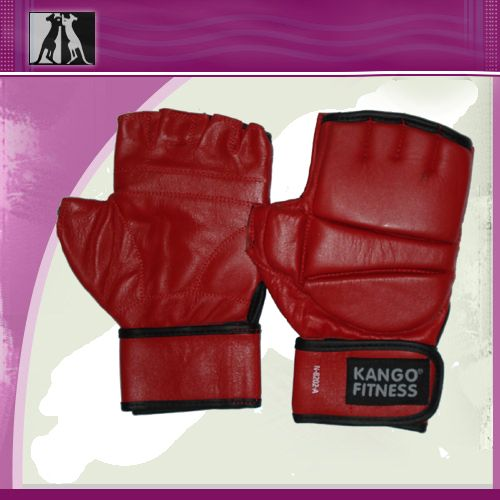 Перчатки для рукопашнего боя красные, нат. кожа, артикул 8202А, KANGO