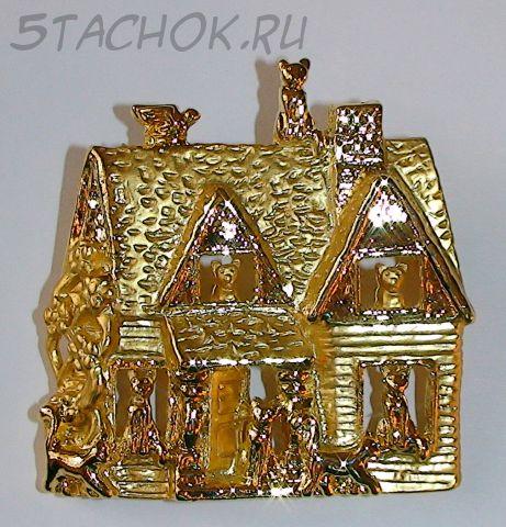 """Брошь """"Пряничный кошкин дом"""" под золото"""
