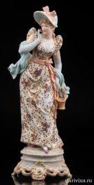 Дама в шляпке с корзинкой, Volkstedt, Германия, 19 в