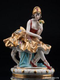 Балерина в золотом платье, Volkstedt, Германия, до 1935 года., артикул 00797