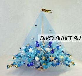 """Букет из конфет №242 """"Кораблик синий"""""""