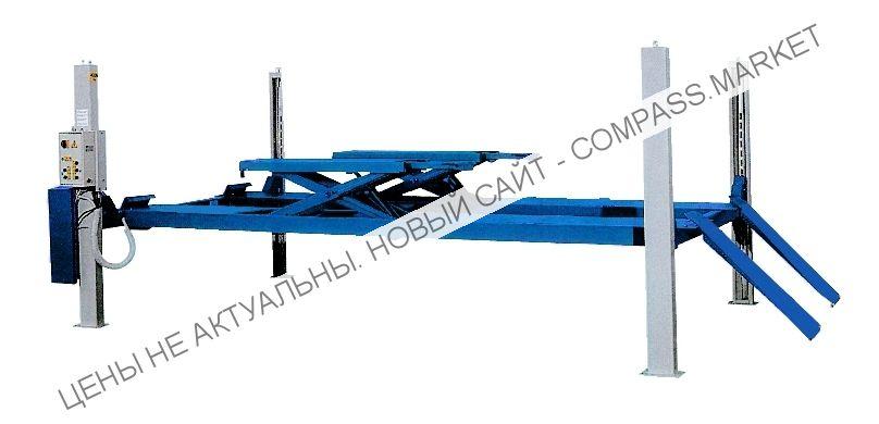 Подъемник четырехстоечный, г/п 5000 кг., платформы гладкие, с подъемником второго уровня, Werther-OMA (Италия)