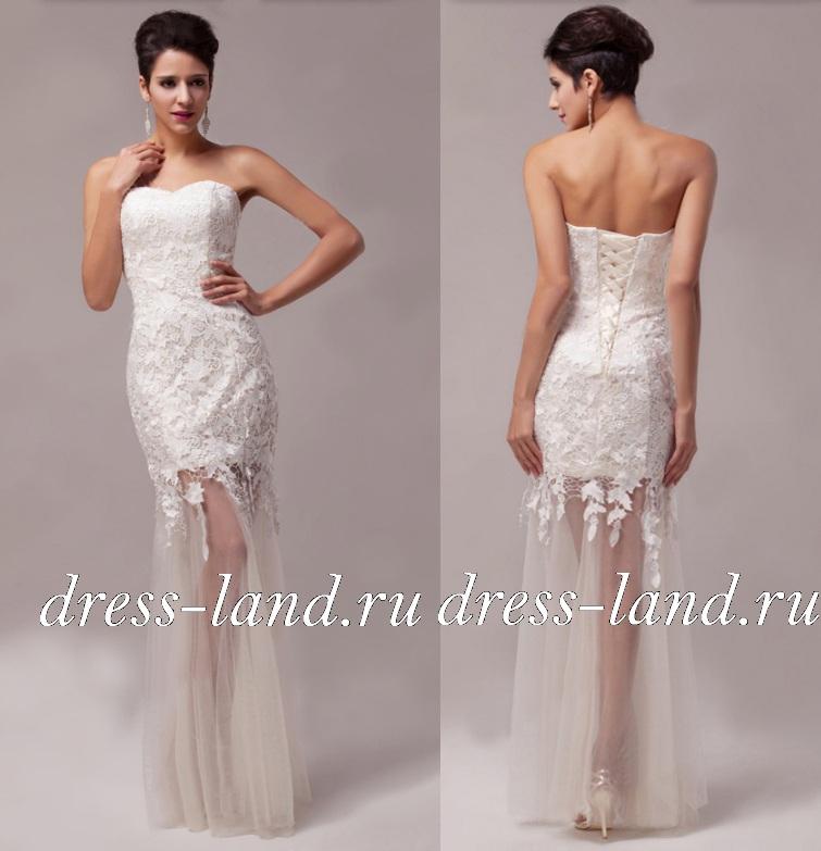 9ce89aead22 Белое кружевное платье в пол
