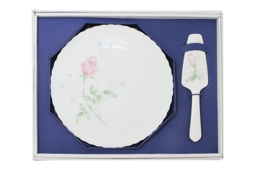 """Набор для торта: блюдо 30см + лопатка """"Апрельская роза"""""""