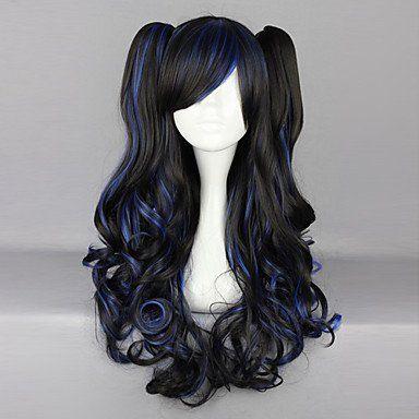 Парик черный с синими прядями Лолита