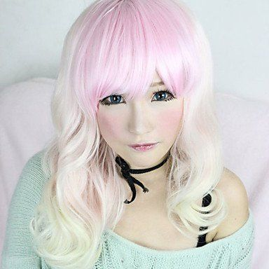 Парик белый смешанный с розовым Лолита