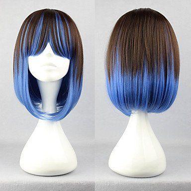 Коричневый с синим короткий парик