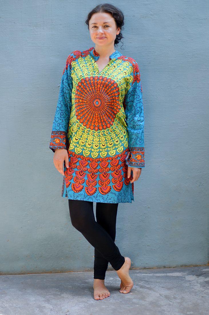 Длинная женская голубая индийская рубашка Мандала (отправка из Индии)