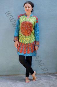 Длинная женская индийская рубашка Мандала, голубая
