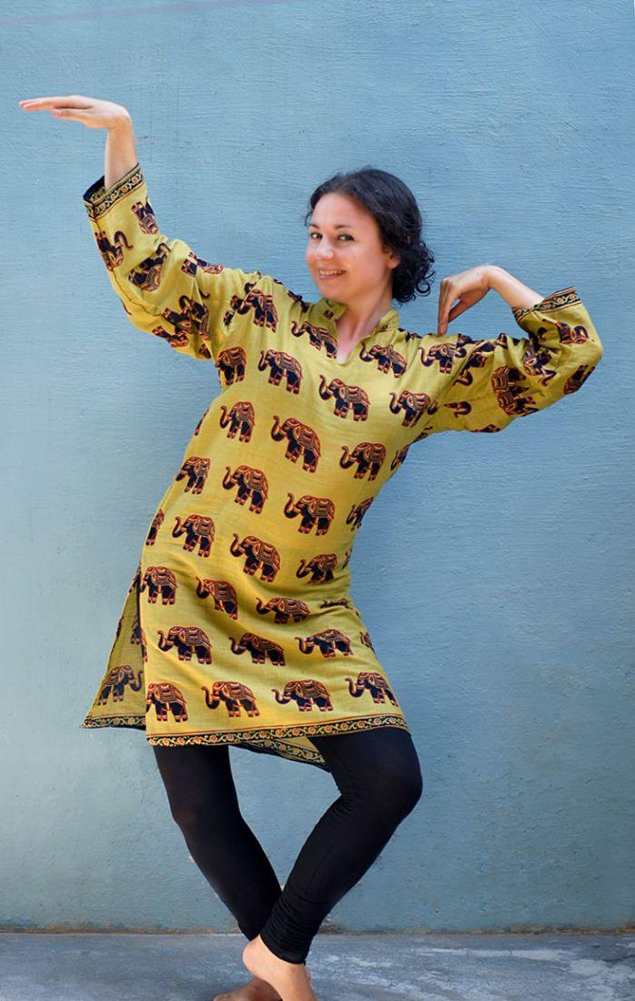 Унисекс. Индийские курты со слонами (отправка из Индии)