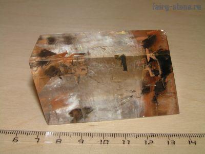 Исландский шпат, оптический кальцит (Calcite) с включениями (64мм)