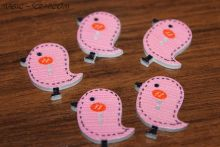 Птички пуговички деревянные розовые